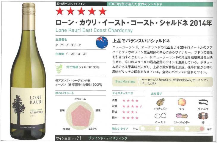 ワイン王国 × ローンカウリ シャルドネ2014