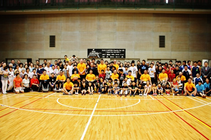 ダン・カーター チャリティプログラム 共生社会普及促進企画 ウィルチェアーラグビー、車椅子バスケットボール、車いすテニスの体験プログラム